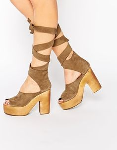 Free People Wrap Taupe Heeled Clog Sandals