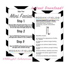 instant printable - rodan and fields mini facial cards - ready to print - randf business - DIY - lash boost cards by BlissfulSalutations on Etsy
