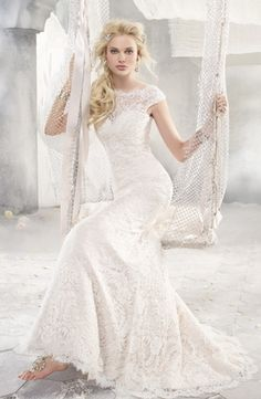 Bridal Gowns: Alvina Valenta Sheath Wedding Dress with Bateau Neckline and Waistline