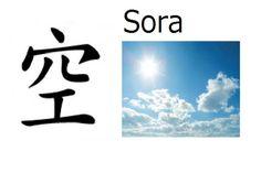 Significado: Cielo  Pronunciación: Sora  Nombre de: Chico o chica  También usado en nombres compuestos (Sorato, Soranosuke)  Sora puede ser escrito con el kanji 天 (también significa cielo)