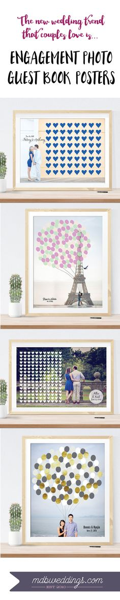 LOVE this wedding trend - guests all sign on the print during the wedding. Such a cute idea and you can hang it on your wall after the wedding! Amazing way to get more use out of your engagement photos!