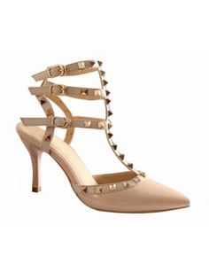 CARRIE Studded Details High Heel Patent Leather Sandals- 3 Strap shopjessicaburhman