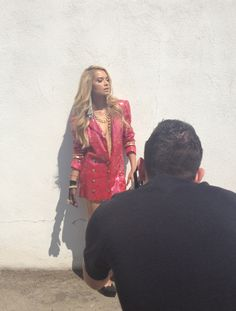 A behind the scenes pic of photographer Josh Williams shooting DJ Havana Brown for Thrifty Hunter magazine!  She is wearing a Jenny Dayco clear glass locket ring, vintage gold stud bracelet, and gold rhinestone chain necklace.