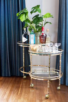 Small glass and gold bar cart with plant and cocktail glasses