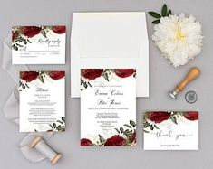 Wedding Invitation Template and Thank You Card, Fully Editable with Templett, Red roses invitation set - 00001 Diy Invitations, Invitation Set, Wedding Invitation Templates, Invites, Red Rose Flower, Red Roses, Blue Rose Tattoos, Red And White Weddings, Handmade Flowers