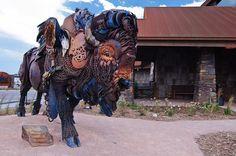 Dakotah Steakhouse, Rapid City Rapid City, South Dakota, Camel, Lion Sculpture, Statue, Usa, Summer, Animals, Black