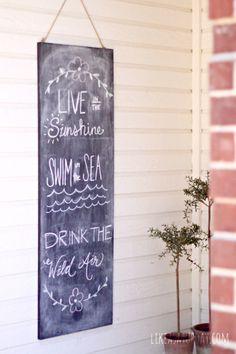 Playful summer time porch - Ralph Waldo Emerson chalk art
