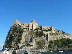 #Aragonese #Castle, #Ischia #Amalfi #Italy - A #castle originally built in the 5th century BC. Connected to the main #island with a stone #bridge. Get some great #trip_ideas and start planning your next trip! See More: RoutePerfect.com