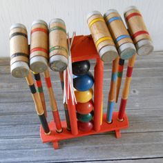 Vintage Croquet Set ~ played many a croquet game when I was growing up in Michigan!