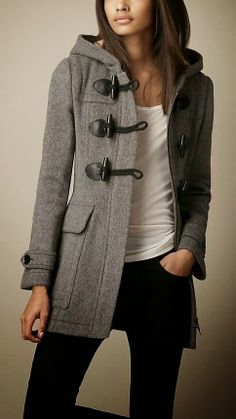 Dark Grey Burberry Toggle Coat