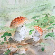 A pair of mushrooms 🍄 🍄, Me, Watercolors, 2019 : Art Pretty Art, Cute Art, Wall Collage, Wall Art, Mushroom Art, Art Hoe, Aesthetic Art, Cute Drawings, Monet