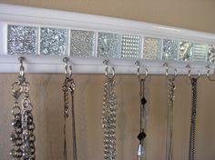 Jewelry organizer This necklace holder rack has beautiful white & silver mosaic tile 11.5 w/ 7hooks .Necklace organizer jewelry storage GIFT by gotahanguptoo on Etsy https://www.etsy.com/listing/204520434/jewelry-organizer-this-necklace-holder