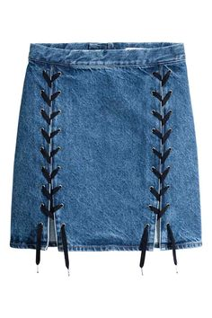 Bleach Tie Dye Discover Denim Skirt with Lacing - Denim blue - Ladies A Line Denim Skirt, Lace Up Skirt, Blue Denim Skirt, Denim And Lace, A Line Skirts, Short Skirts, Denim Skirts, Jean Skirts, Blue Skirts