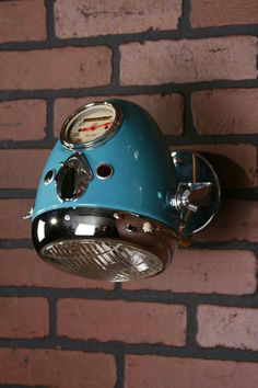 35 Cool Ways To Recycle Motorcycle Parts Into Your Decor - Beleuchtung Car Part Furniture, Automotive Furniture, Automotive Decor, Design Furniture, Garage Art, Man Cave Garage, Diy Bike, Car Part Art, Lampe Retro