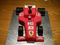 Homemade Formula One Birthday Cake: This Formula One Birthday Cake was made for my son's best friend, who is a motor mechanic and loves Formula 1 racing. The cake was made from Madeira