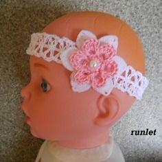 Bandeau bebe en coton blanc dentelle avec fleur blanche au crochet et perle 822f6feecfe