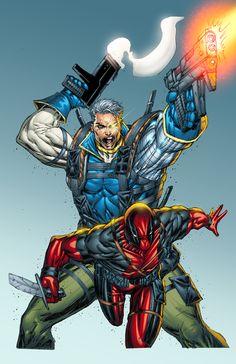 #Deadpool #Fan #Art. (Cable and Deadpool Cover) By: Rob Liefeld. (THE * 5 * STÅR * ÅWARD * OF: * AW YEAH, IT'S MAJOR ÅWESOMENESS!!!™) ÅÅÅ+