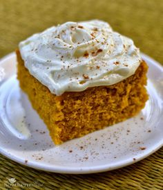 Pumpkin Cake Squares with Orange Cream Cheese Icing