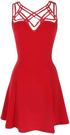 """Red Cutout Strap Dress. Amazing bright red dress with cutout strapping top. Casual or dressy! 95% Polyester, 5% Spandex. Length: 33.5"""" from shoulder to hem. Runs true to size. #ustrendy www.ustrendy.com"""