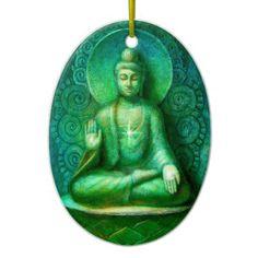 the green buddha oval christmas ornament