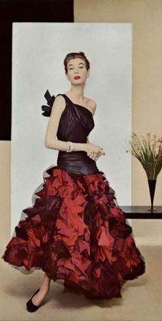 Gres 1952 vintage fashion unique design style skirt dress cocktail evening formal wear red black one shoulder bow crinkle designer 50s couture