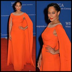 Tracee Ellis Ross at the White House Correspondents' Dinner. Dress by Honor, Jewelry by Neil Lane, hair and makeup by Tracee.