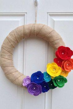 Rainbow Felt Flower Wreath - Burlap Wreath by BlueHouseDesignz on Etsy… Felt Flower Wreaths, Felt Wreath, Wreath Crafts, Deco Mesh Wreaths, Felt Flowers, Felt Crafts, Paper Flowers, Wreath Burlap, Yarn Wreaths