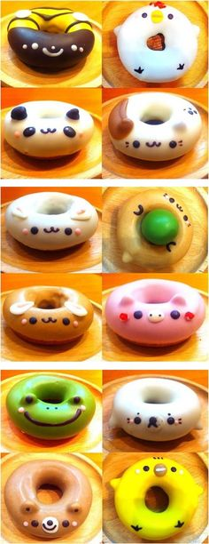 Japanese doughnuts... SO CUTE!!! I love the pig the chicken and the dog one!!!!! - http://teacakecafe.net/ Japanese Donuts, Japanese Food Art, Japanese Desserts, Japanese Candy, Donut Cat, Cute Japanese Stuff, Animal Food, Animal Faces, Japanese Animals