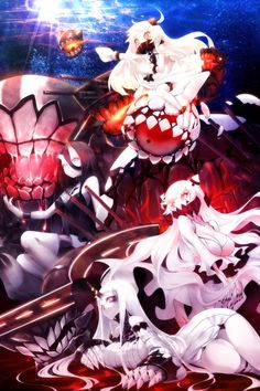 Northern Ocean Hime,Kantai Collection,KanColle,Anime,аниме,Seaport Hime,Battleship-symbiotic Hime,Midway Hime,kochipu