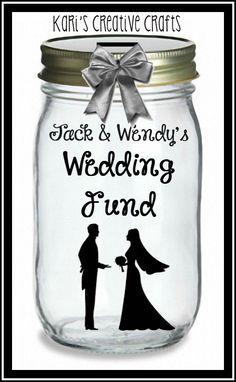 Wedding Fund Or Honeymoon Bank Jar Savings Coin Slot Lid