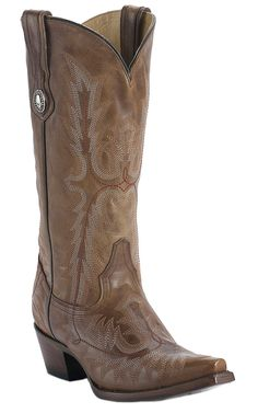 Corral® Ladies Cognac Brown Tall Top Fancy Stitch Snip Toe Western Boots $179.99