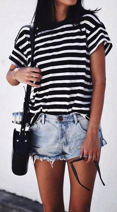 #summer #outfits  Monochrome Striped Tee + Bleached Denim Short