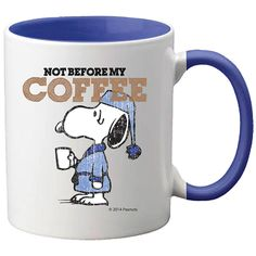 Start your mornings right with a pick-me-up from Snoopy! Let others know you need coffee to start your day right with this mug. Start shopping at CollectPeanuts.com and support our site!