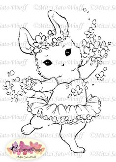 Digital Stamp  Instant Download  Little Tutu Bunny  by AuroraWings, $3.00