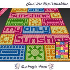 You Are My Sunshine is a graph pattern that can be used to crochet a blanket using C2C (Corner to Corner), TSS (Tunisian Simple Stitch) and other techniques. Alternatively, you can use this graph for knitting, cross stitching and other crafts.  This graph design is 78 squares wide by 98 squares high.  It requires 8 colors.  Pattern PDF includes:  - color illustration for reference  - color square pattern  Image only, no written counts.  This listing is for a digital pattern only. The PDF…