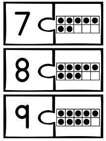 Ten Frame Puzzles for numbers 1-20
