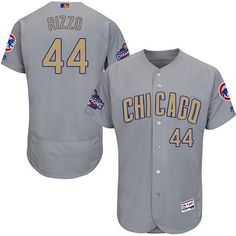 Chicago Cubs Anthony Rizzo Majestic Gold gray alternate away jersey