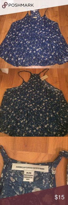 American Eagle women's summer tank Has a pretty flower pattern, and has never been worn American Eagle Outfitters Tops Tank Tops