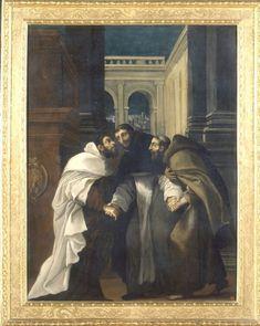 Incontro di Sant'Angelo con San Domenico è San Francesco pinacoteca nazionale di Bologna. 1608-1610. Tarda opera di Ludovico. Stanco e lezioso.