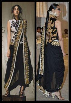 two way pallu designer saree drape, anamika khanna saree draping