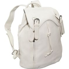 AmeriLeather Clementi Backpack - Off White - Backpack Handbags ($64) ❤ liked on Polyvore featuring bags, backpacks, white, draw string backpack, drawstring bag, drawstring backpacks, draw string pouch and zip pouch