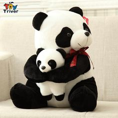 $12.99!New creative plush panda doll toy father and son cute stuffed panda gift for baby children girl boy free shipping Triver Toy
