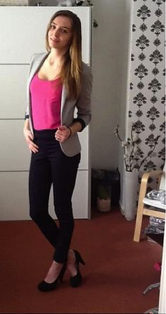 Simple work outfit. Hot pink top shirt with light grey suit jacket. Black pants and black flats.