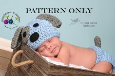 This is a CROCHET PATTERN ONLY--NOT A FINISHED PRODUCT.    Super cute puppy hat and diaper cover. It is very gender neutral and suitable for boys    3.50