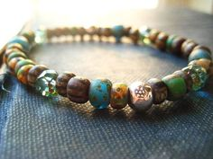 beaded bracelet Picasso beads  stretch Old World  by Candies64