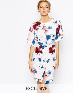 Image 1 of Closet Kimono Sleeve Midi Dress With Tie Back Detail And Split Front