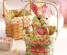 Bring Easter to your home with brightly colored bunnies and baskets.
