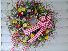 Spring Summer Wreath by PriddyStuff on Etsy, $125.00