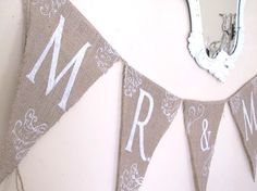 MR & MRS Glittered Burlap Banner with Tattoos by funkyshique, $34.00