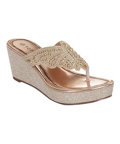 Look at this TOP MODA Champagne Shimmer Butterfly Wedge on #zulily today!